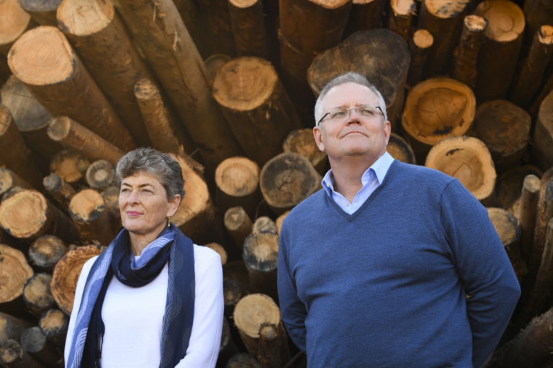 Prime Minister Scott Morrison (right) and Liberal Party candidate for the seat of Eden-Monaro Fiona Kotvojs speak to the media during a visit to Allied Natural Wood Exports woodchip mill near Eden, NSW, Tuesday, June 23, 2020.