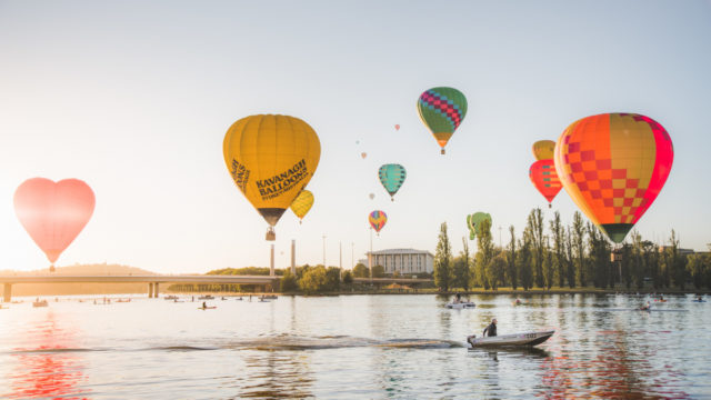 Balloons over Lake Burley Griffin.