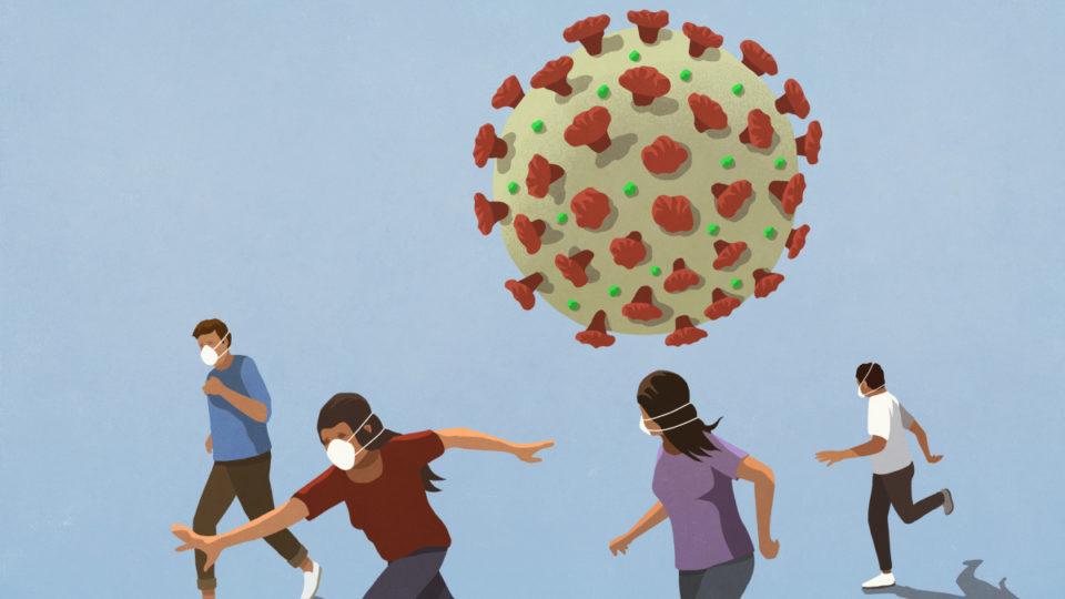 People in flu masks running from COVID-19 coronavirus - stock illustration