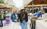 Two young women at a flea market