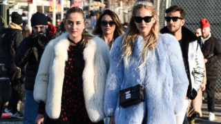 Valentina Ferragni and Chiara Ferragni are seen wearing fur coats outside the Coach show during New York Fashion Week: Women's Fall/Winter 2017 on February 14, 2017 in New York City