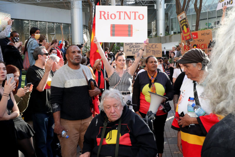 Protestors rallied against Rio Tinto.