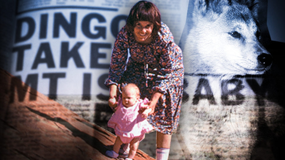 Lindy Chamberlain holds baby Azaria at Uluru.