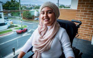 Fathema Anwar on her balcony