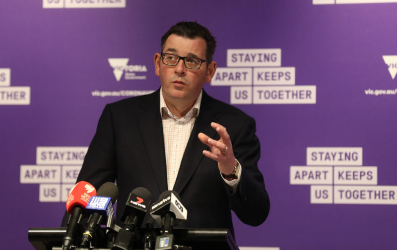 Premier Daniel Andrews speaks at a press conference on Saturday