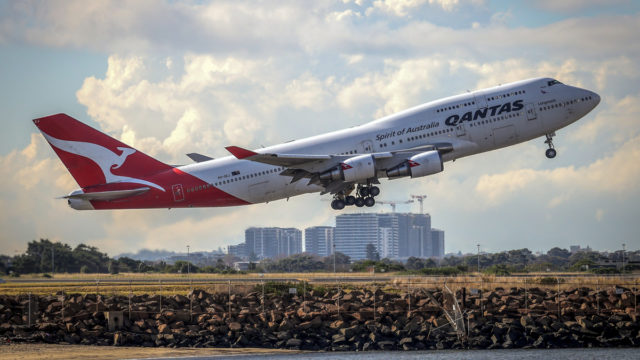 Qantas has farewelled its last 747 aircraft as it prepares for retirement in the United States.