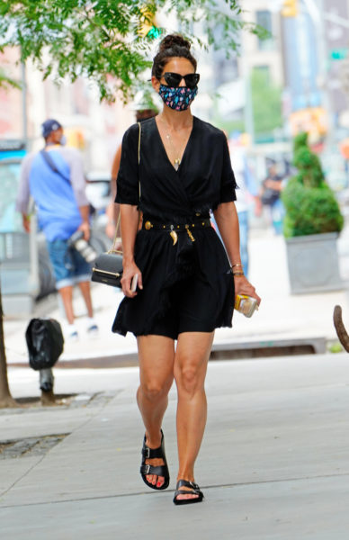 Katie Holmes is seen wearing a face mask on July 15, 2020 in New York City.