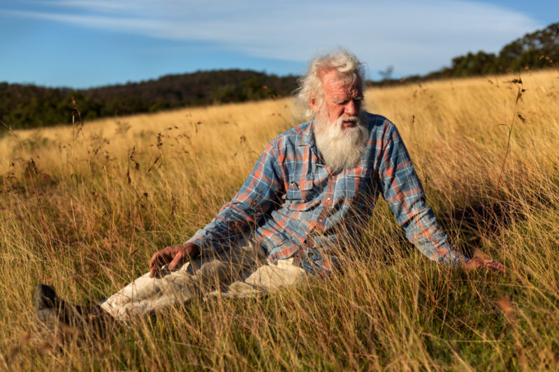 "Bruce Pascoe in a field of mandadyan nalluk, also known as ""dancing grass,"" on his 140-acre farm in Wallagaraugh, Australia, June 5, 2020. Pascoe, whose book ""Dark Emu"" sparked a reconsideration of Australian history, now hopes to use his writing to revive Aboriginal community. (AnnaMaria Antoinette D'Addario/The New York Times)"