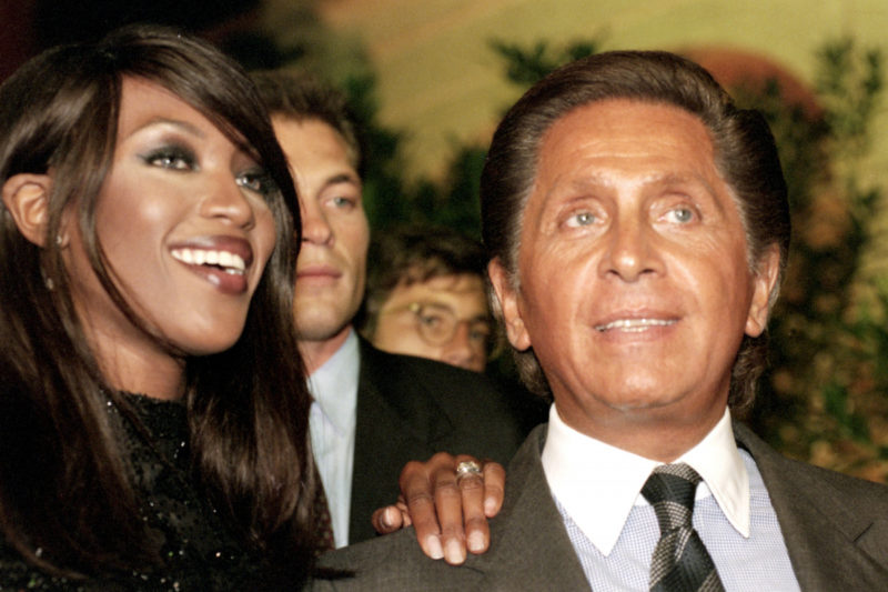 Italian fashion designer Valentino, whose real name is Valentino Garavani, ant top model Naomi Campbell arrive at the party for the inauguration of three new Valentino's boutiques on September 15, 1995 in Rome