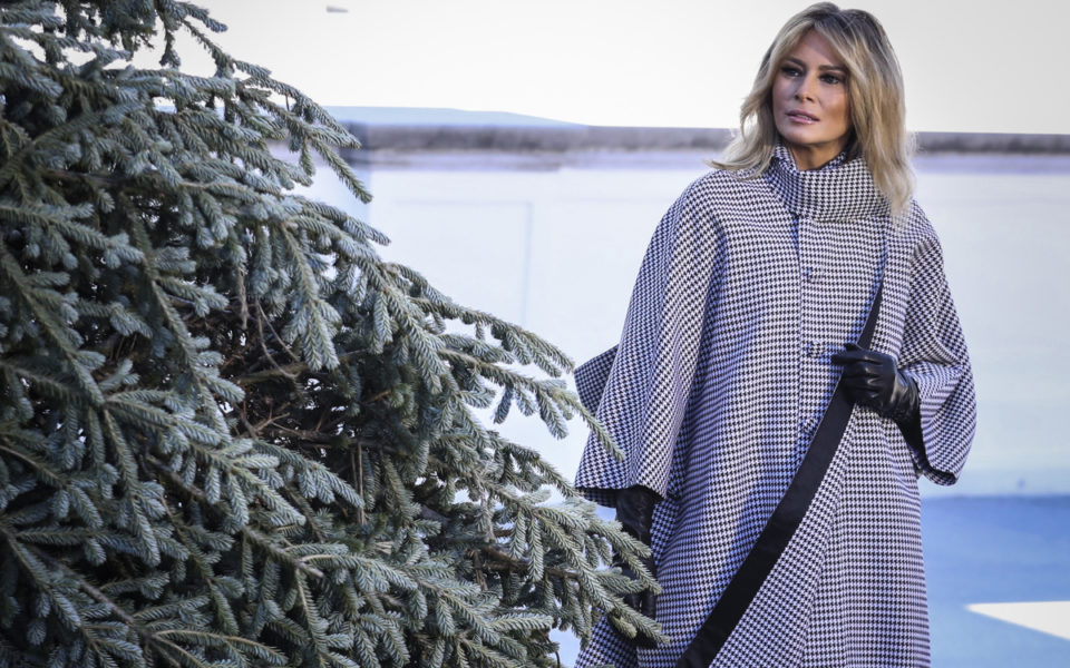 Melania welcomes White House Christmas tree – but where's Donald
