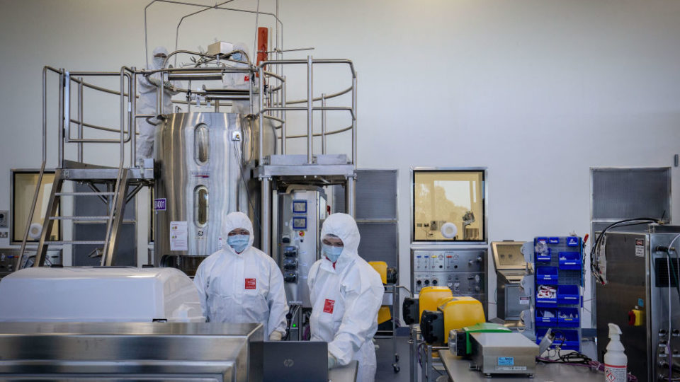 Staff at CSL in Melbourne where the AstraZeneca vaccine is manufactured.