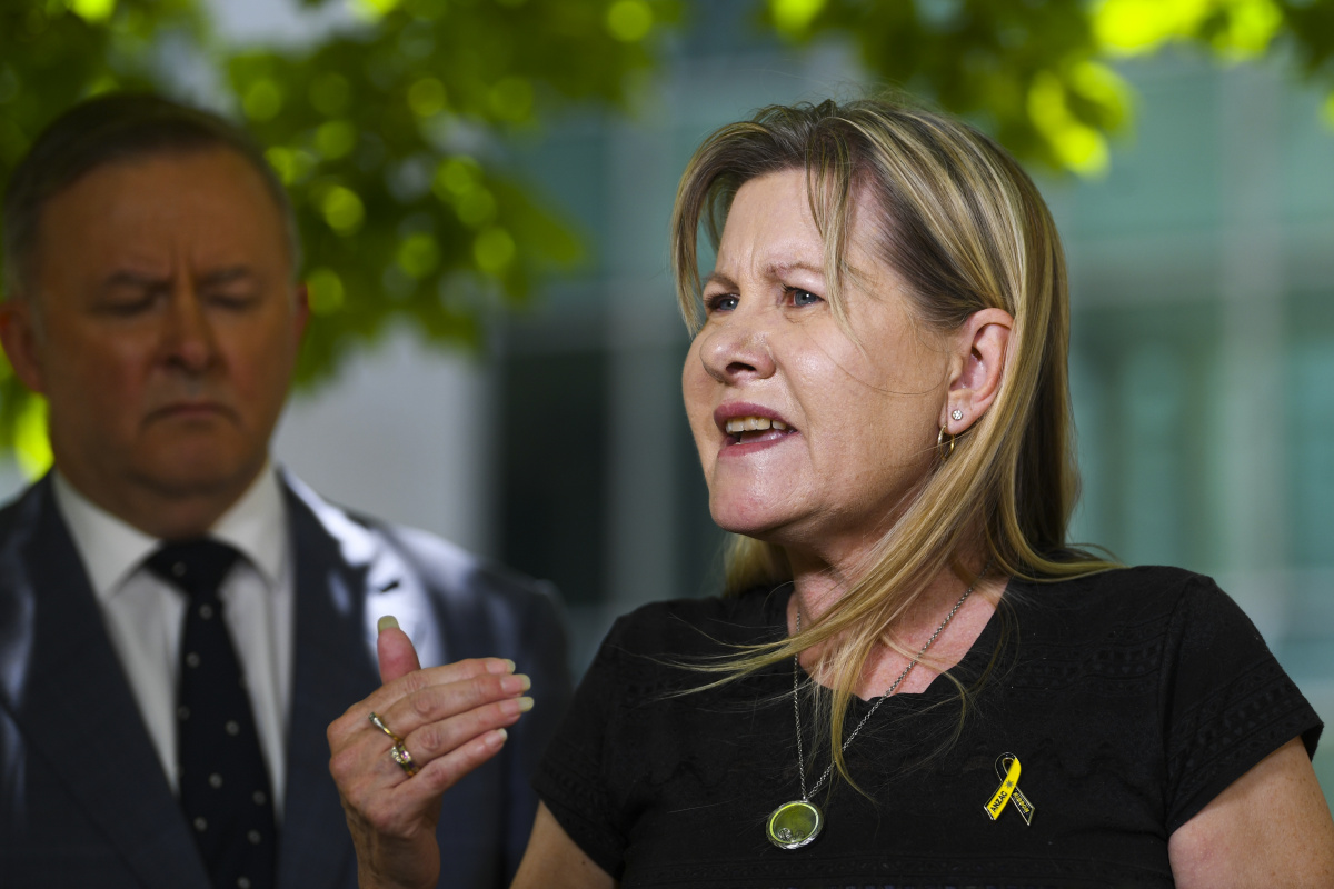 Julie-Ann Finney, mother of the late veteran Dave Finney speaks during a press conference at Parliament House in Canberra, Tuesday, December 1, 2020.