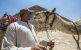 A mask-clad camel guide stands before a camel near the Great Pyramid of Khufu (Cheops) at the Giza Pyramids necropolis on the southwestern outskirts of the Egyptian capital Cairo