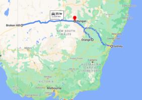 map of Orange,Broken Hill and Nyngan where a man with coronavirus travelled