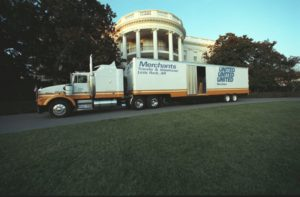The Clintons moving van arrives at the White House from Little Rock, January 20, 1993.