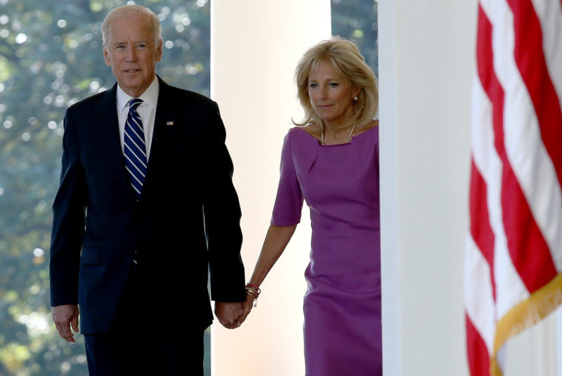 Vice President Joe Biden holds hands with his wife Jill Biden while walking to the Rose Garden to announce that he will not seek the presidency during a statement with U.S. President Barack Obama in the Rose Garden of the White House October 21, 2015 in Washington, DC