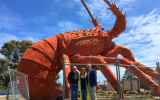 South Australian Premier Jay Weatherill (right) next to the Big Lobster at Kingston Se, South Australia