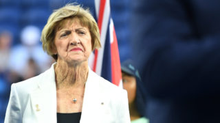 Margaret Court looks on during a Tennis Hall of Fame ceremony on day nine of the 2020 Australian Open at Melbourne Park
