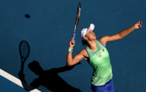 Ashleigh Barty of Australia serves during her Women's Singles Semifinal match against Sofia Kenin of the United States on day eleven of the 2020 Australian Open at Melbourne Park on January 30, 2020
