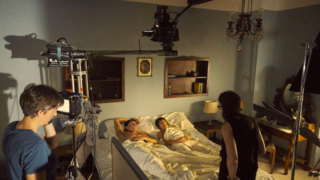 Paul Mescal and Daisy Edgar Jones during the filming of Normal People.