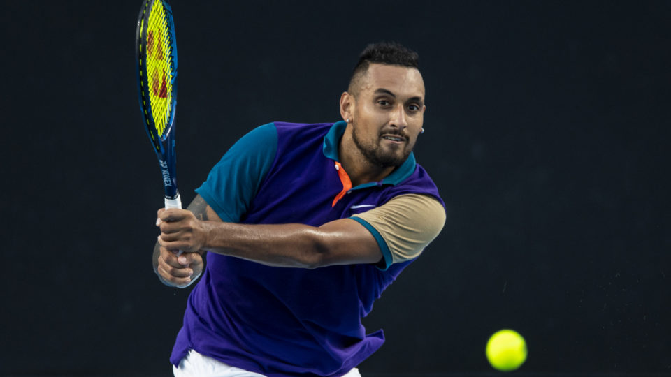 Nick Kyrgios of Australia prepares to serve against Harry Bourcher of Australia during day three of the ATP 250 Great Ocean Road Open at Melbourne Park on February 03, 2021 in Melbourne