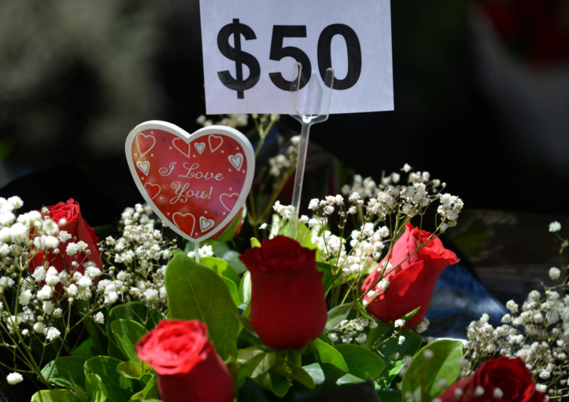 Roses are seen for sale for Valentine's Day in Sydney