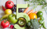 Five a day portion size with fresh fruits and vegetables healthy diet lifestyle concept