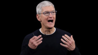 Apple CEO Tim Cook delivers the keynote address during a special event