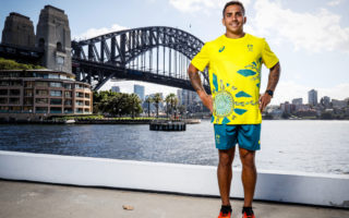 Maurice Longbottom poses during the Australian Olympic Team Tokyo 2020 uniform unveiling at the Overseas Passenger Terminal on March 31, 2021 in Sydney, Australia