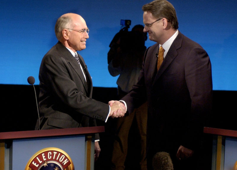 Labor federal opposition leader Mark Latham concedes defeat in his Sydney electorate of Werriwa, 09 October 2004. The conservative coalition government led by John Howard has retained power for a fourth consecutive term. AFP