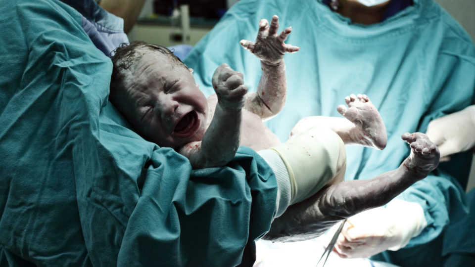 Doctor holding new born