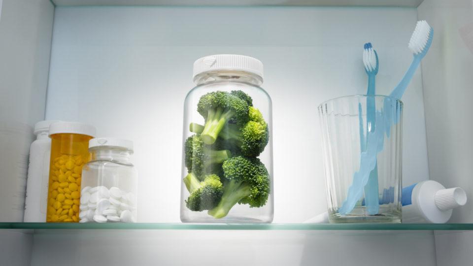 Broccoli in a pill bottle