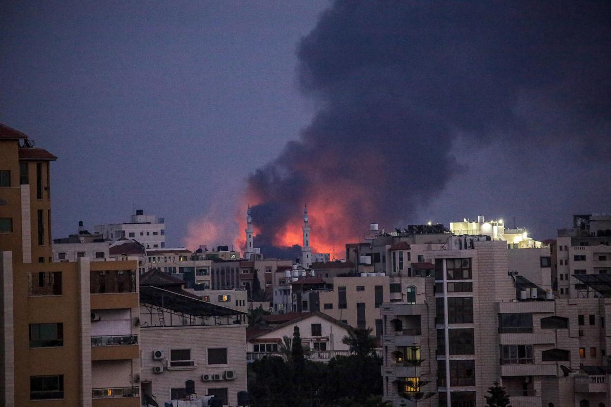 Smoke rises after an Israeli airstrike in eastern Gaza