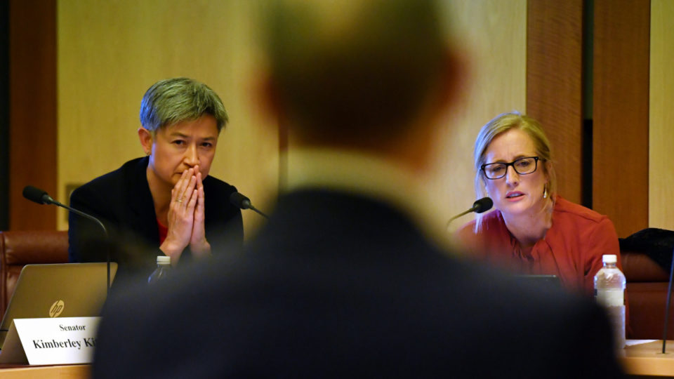Labor's Penny Wong and Katy Gallagher in Senate estimates on Tuesday.