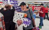 Shoppers stock up on toilet paper
