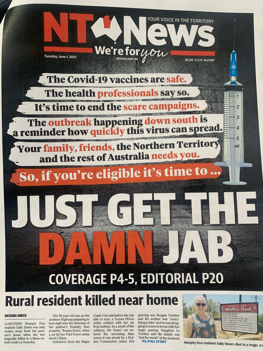 The NT News vaccination campaign front page