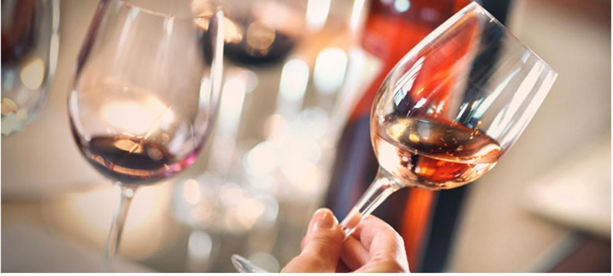 A swirling wine glass