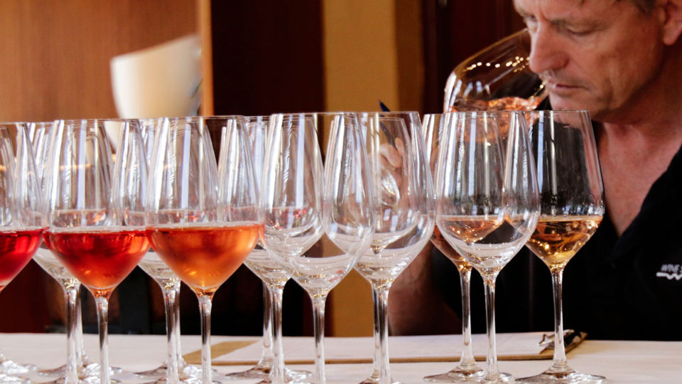 A bracket of wines ready for the tasting