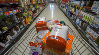 In this photo illustration, products containing high sugar levels are on display at a supermarket