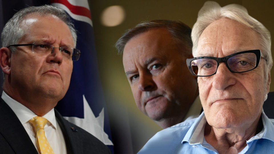 Anthony Albanese, Scott Morrison, and Dennis Atkins