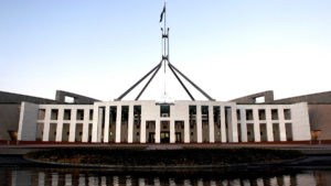 A man was arrested outside the ministerial entrance to Parliament House on Monday night.