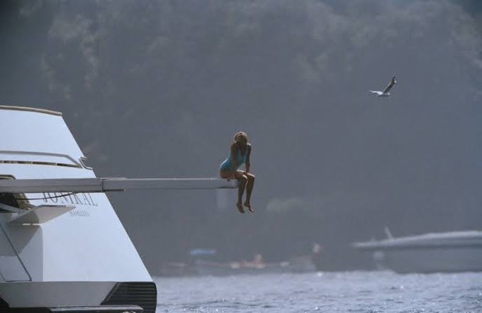 On a yacht in Italy, shortly before her death