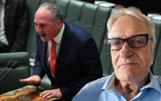 Barnaby Joyce in Parliament and Dennis Atkins' headshot