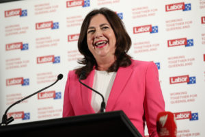 Queensland Premier Annastacia Palaszczuk talks to supporters at her polling party in Inala, on October 31, 2020 in Brisbane, Australia. Labor premier Annastacia Palaszczuk has claimed Victory in the 2020 Queensland State Election, against the Liberal National party led by Deb Frecklington