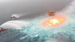 mexico gas fire ocean