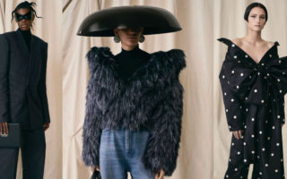 Three looks from Balenciaga's Fall 2021 couture collection