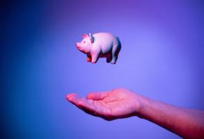 business loan application flying piggy bank
