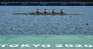 Members of Australia's rowing team take part in a training session at the Sea Forest Waterway in Tokyo on July 21, 2021, ahead of the Tokyo 2020 Olympic Games