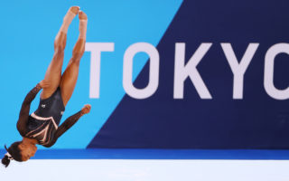 Simone Biles of Team United States trains in the floor exercise during Women's Podium Training ahead of the Tokyo 2020 Olympic Games at Ariake Gymnastics Centre on July 22, 2021 in Tokyo, Japan.