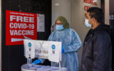 A health worker is seen in a medical centre in Lakemba which offers COVID-19 vaccines on July 22, 2021 in Sydney, Australia